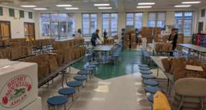 Community partners pack boxes to distribute