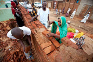 women work at construction sites