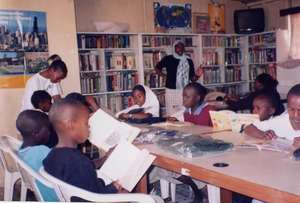 Children doing their homework at the Library