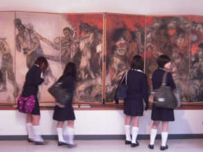 H.S. students getting a close look at the panels