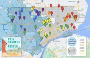 Rain garden locations through 2020