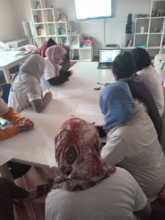 The girls study using online programmes