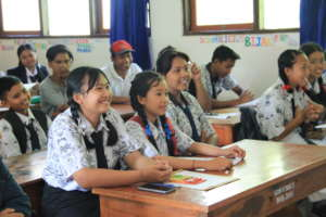 Sponsored students listen to announcement