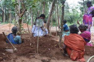 Women preparing the land