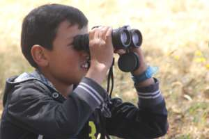 Youth getting a closer view of nature