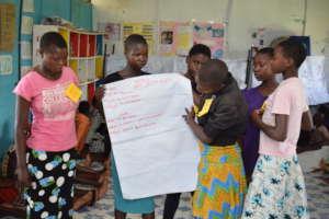 Girls presenting at girls Human Rights workshop