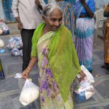 Dry ration kits gave a aged women