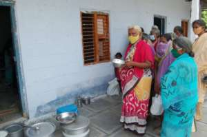 receiving daily food from kitchen