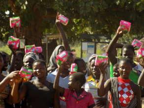 Refugee girls at Adjumani after receiving pads