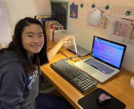 Middle School Student Streaming to Laptop