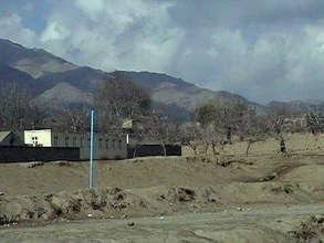 Desolate landscape after war