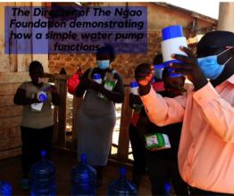 Distributing Water bottles and hand press pump