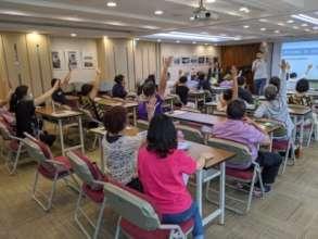 Senior citizens enjoying the class