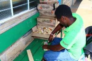 Preparing soap in include in sanitary packs