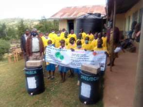 Schools receiving water containers and soap