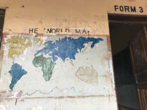 World map painted on school wall