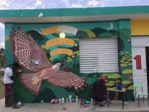 Beautiful wall painting of the Ridgway Hawk