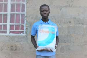 Ibrahim with his new bed net