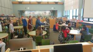 Middle school Ss presenting to elementary Ss