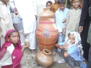 Children drinking clean water