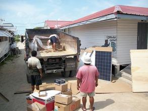 Continued unloading of solar equipment