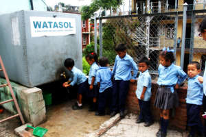 A queue of Students for drinking water