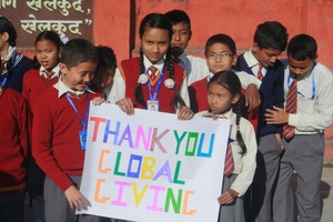 Students expressing their gratitude