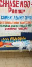 Distribution of sanitizer, mask and soaps