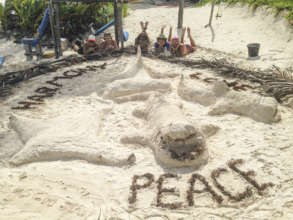 One of the sand sculptures that we created