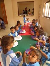 Kindergarten students in the Breakfast Room