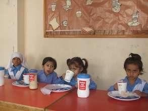 Children get a taste of an energy boosting drink