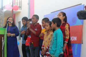 Children singing at the NLC inauguration