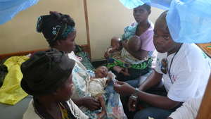 Young Child is Treated at Nutrition Center