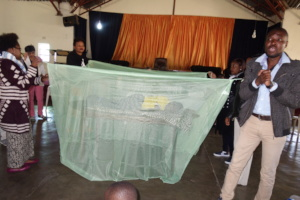 A Nets use demonstration in a Church in Matero
