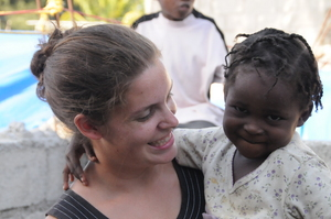 Emma with one of the kids your donation has housed