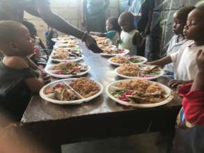 Some of the younger kids being served at Easter