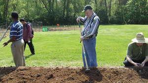 Mitch tills the soil in a community garden plot