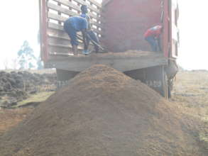 Sand being tip at the site