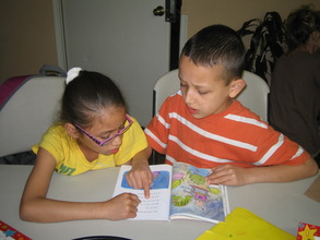 Children reading at Homework Club