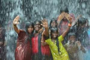 Dayspring Children Enjoying the Waterfall