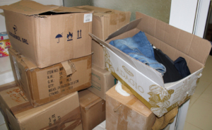 Boxes of Donated Clothes