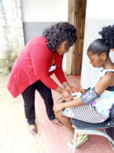Checking the child's vitals