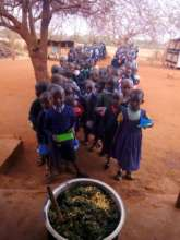 children waiting for kale from our school garden