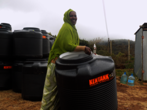 A mother with a water tank