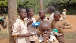 Children enjoying meals