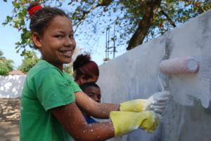 Viviana doing some community service work