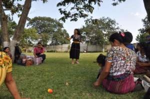 Vilma leads an activity at the event