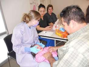 A young child receives care at Virginia Garcia.
