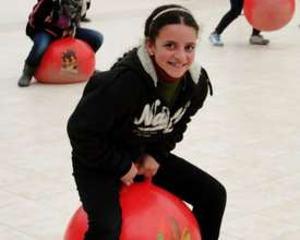 Participant discovers the joys of bounce!
