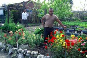 Proud gardener who feeds his whole family